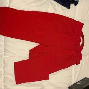 Red high rise ankle pants Express